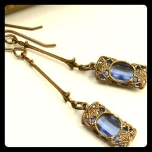 💎Antique Gold & Blue Crystal Earrings💎